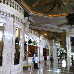 The Peninsula's Grand Lobby. See the sailors??